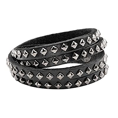 Zysta Men Women Studded Chain Rivet Skull Demon Spike Genuine Leather Punk Rock Gothic Biker Wide Cuff Bracelet Adjustable Bangle Wristband Wrap