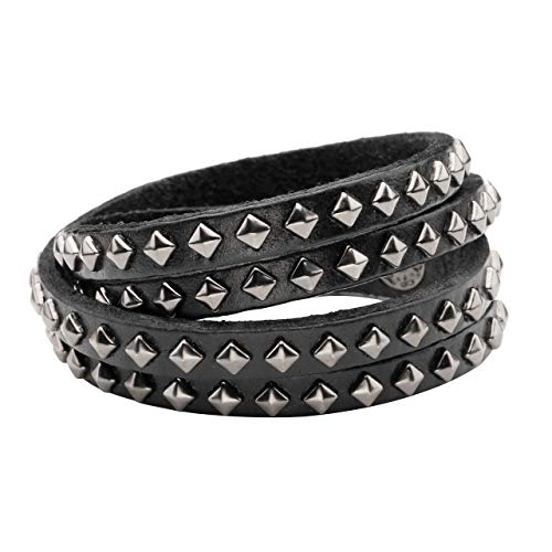 Zysta Men Women Double Row Studded Genuine Leather Punk Rock Gothic Biker 15mm Wide Cuff Bracelet 14.5-15.5 inches Adjustable Bangle Wristband Wrap -
