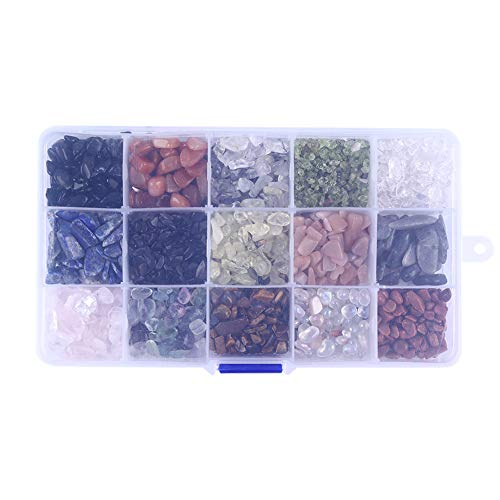 (dezirZJjx Gemstone Beads, Natural Raw Stones, 15-Grid Raw Stone Mineral Rock Specimen Meditation Feng Shui Decoration,Rough Rock Crystals for Tumbling,Cabbing 2#)