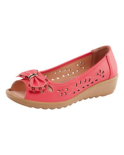 Cotton Traders Womens Ladies Flexi Comfort Bow Detail Wedges E Fit Soft Coral 4 grmTSPW