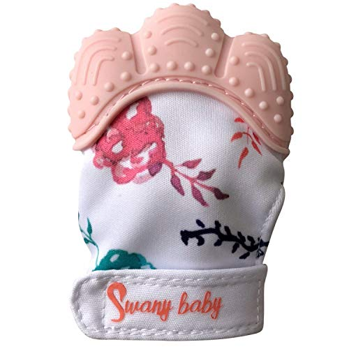 Baby Teething Mittens for Self-Soothing & Pain Relief, Stimulating Teething Baby Toy 3-6 Months, Teether That Stays on Babys Hand (Pink mitt)