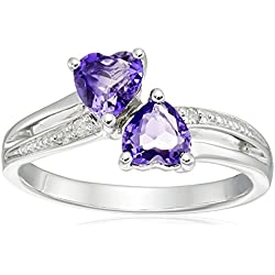 Sterling Silver Diamond Accent and Amethyst Two Heart Ring, Size 6 Valentine's Day gift