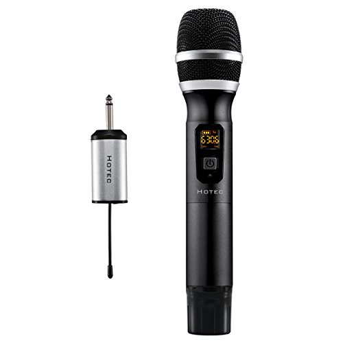 Hotec 25 Channel UHF Handheld Wireless Microphone with Mini Portable Receiver 1/4 Output, For Church/Home / Karaoke/Business Meeting (Black)