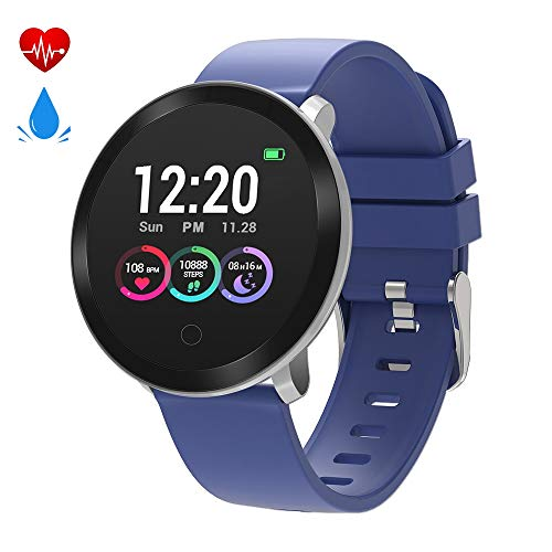 moreFit Halo Fitness Tracker HR, Activity Tracker Smart Watch with Heart Rate Monitor, Waterproof IP68 Smart Fitness Band with Sleep Tracker, Calorie Counter, Pedometer Watch for Kids Women Men(Blue) (Runners Fitness Tracker)