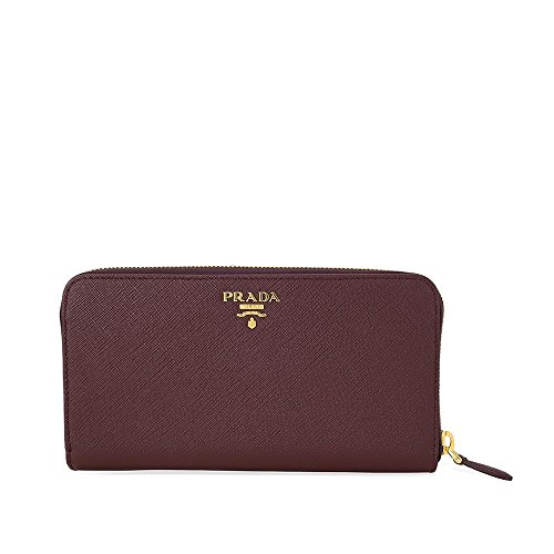 Prada Bi-fold Zip Saffiano Leather Continental Wallet - Granato