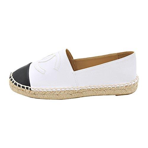 donna scarpe singola ossa cuoio bianco di PIATTO lazy superiore ossa fragrante fondo paglia vento testa di pigro decorato a tonda 35 A scarpe piatto perla scarpe piccolo FONDO con wBOqZIIX4