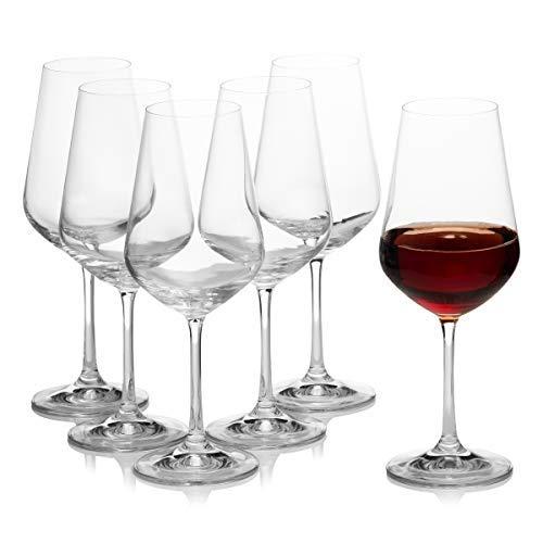 Crystalex Bohemia Sandra Wine Glasses 15 Oz, Set Of 6, Clear, Made In Czech Republic