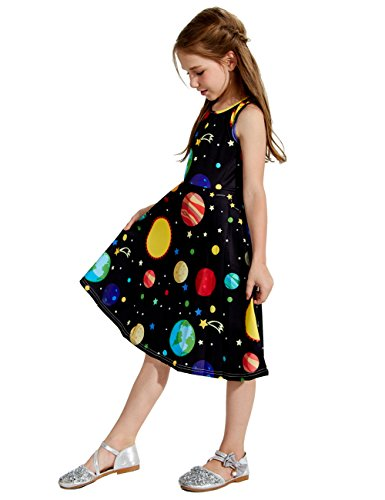 Uideazone Little Girls Cute Print Planet Knee Length Sleeveless Dress Black 8-9 Years ()