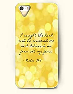iPhone 5 5S Hard Case (iPhone 5C Excluded) **NEW** Case with Design I Sought The Lord And Here Ansered Me And Delivered Me From All My Fears Psalm 34:4- ECO-Friendly Packaging - Bible Quotes Series (2014) Verizon, AT&T Sprint, T-mobile