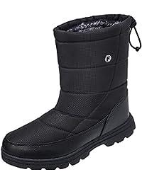 Mens Winter Mid-Calf Snow Boot Fur Warm Waterproof Slip On Outdoor Athletic