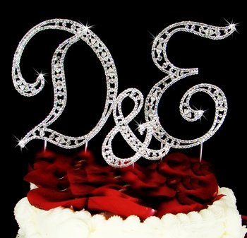 vintage style swarovski crystal rhinestone monogram wedding cake topper 2 large letters and small sign