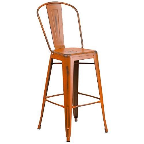 Flash Furniture 30'' High Distressed Orange Metal Indoor-Outdoor Barstool with Back