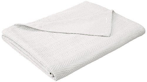Superior 100% Cotton Thermal Blanket, Soft and Breathable Cotton for All Seasons, Bed Blanket and Oversized Throw Blanket with Metro Herringbone Weave Pattern - Full/Queen Size, White