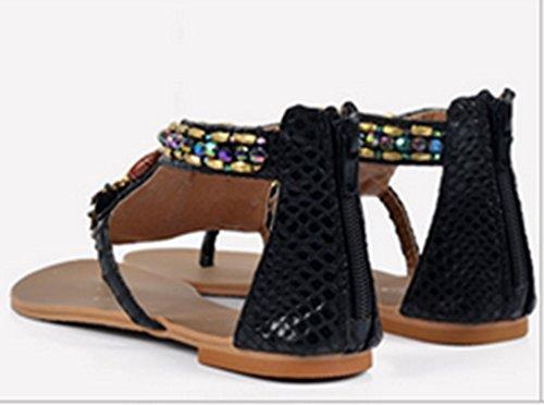 Crc Womens Retro Stile Romano In Rilievo Casual Confortevole Sandali Flip-flop In Similpelle Neri