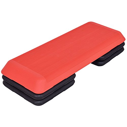Red Trapezoid 43'' Aerobic Stepper Adjustable Height for Work Out by FDInspiration