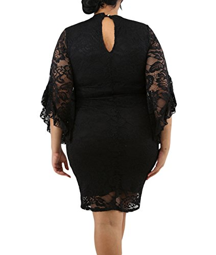 50 Incredible Non Traditional Wedding Dresses Under 500: Lalagen Women Plus Size Lace Flare Bell Sleeves Bodycon