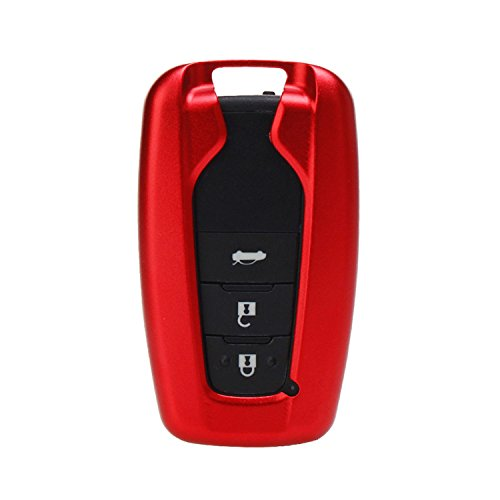 [M.JVisun] Key Fob Cover For Toyota Key Fob Remote Key, Fits Toyota Camry 2018 Toyota C-HR Smart Keyless Start Stop Engine Car Key, Aircraft Aluminum Key Fob Case + Genuine Leather Keychain - Red