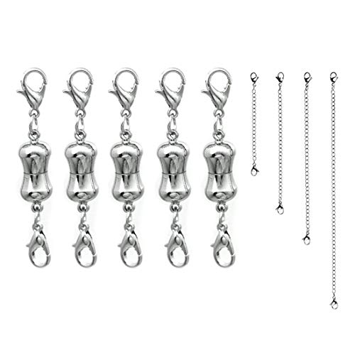 5Pcs Magnetic Clasp Converter with Double Lobster Claw Clasp for Necklace Bracelet Making, Bonus 4 Sizes Steel Silver Necklace Extenders(Bone)