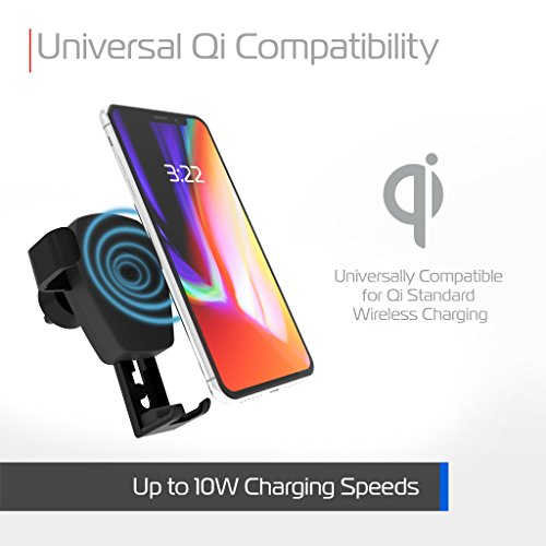 tzumi Wireless Charging Gravity Mount – Pressure-Activated Smartphone Car Mount and Wireless Charger for All Qi-Enabled Devices – Docks from Any Air Vent by Tzumi (Image #1)