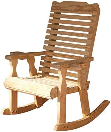 Amish Heavy Duty 600 Lb Classic Pressure Treated Rocking Chair With Cupholders Unfinished