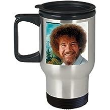 Bob Ross Beautiful Art (Travel Mug) - Bob Ross Coffee Mug - 16-oz Bob Ross Quote Coffee Mug Cup - Funny Bob Ross Painting Quote Coffee Cup