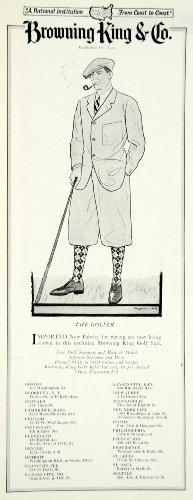 1925 Ad Vintage Browning King Golf Suit Golfer Golfing Plus Fours Cap Fashion - Original Print - Fashion Lf