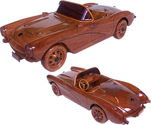 This model rendering of a Corvette Convertible 1957 Mahogany Wood desktop model