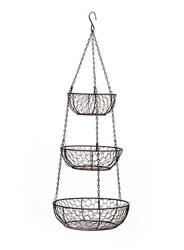 RSVP 3-Tier Chicken Wire Hanging Baskets (Baskets Copper Hanging)
