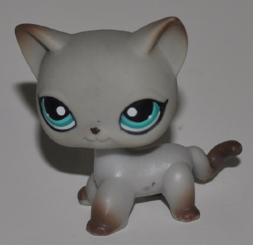Siamese Shorthair #391 Around the World Edition (Grey, Blue Eyes, Brown Accents) - Littlest Pet Shop (Retired) Collector Toy - LPS Collectible Replacement Figure - Loose (OOP Out of Package & Print)