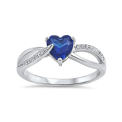 Wedding Engagement Heart Promise Ring Simulated Blue Sapphire Round CZ 925 Sterling Silver