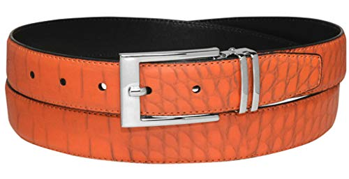 Croc Pattern ORANGE Color Crocodile Bonded Leather Men's Belt Silver-Tone Bkl 34 ()