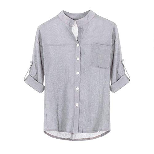 Youngh 2018 New Womens Blouses Shirts Women Solid Plus Size Button Blouses Stand Collar Long Sleeve Shirt Casual Work Fashion Casual Blouse: Amazon.com: ...