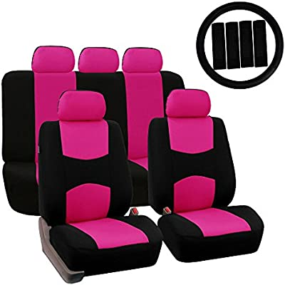 Fh Group Fh Fb030115 Combo Light Breezy Cloth Full Set Car Seat Covers Airbag Split Ready Pink Black Fit Most Car Truck Suv Or Van
