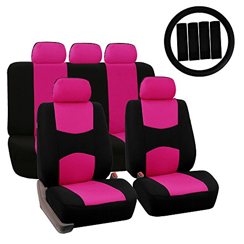 FH Group FH-FB030115 Combo Light & Breezy Cloth Full Set Car Seat Covers (Airbag & Split Ready), Pink/Black- Fit Most Car, Truck, Suv, or ()