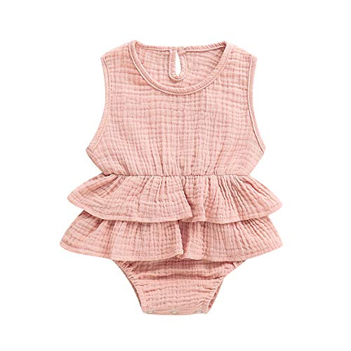 Baby Girls Clothes Ruffles Collar Romper Bodysuit Jumpsuit Outfits Summer Clothes for Infant Toddler Girl (Pink#2, 6-12 Months) from ITFABS