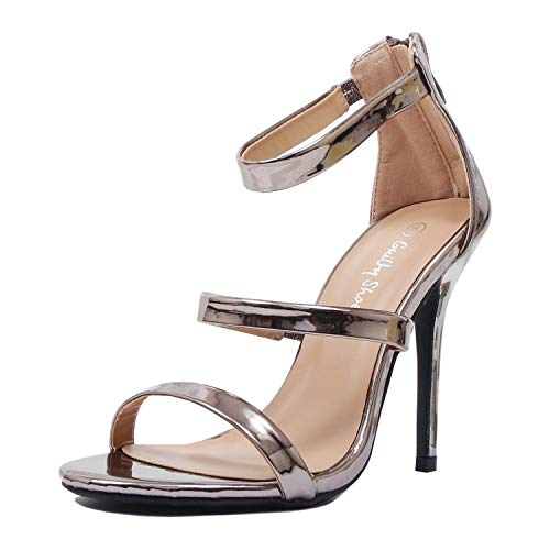 Party Guilty Strap Open Metallic Heart Pu Stiletto Toe Heel High Ankle Pewter Sandals Women Sexy XnRr8x4RY