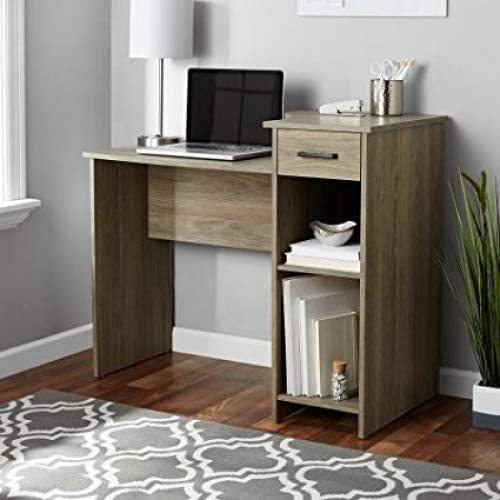 Stylish Affordable Student Computer Homework Desk, Great for Dorms or Apartments, Features Drawer, Adjustable Fixed Shelf, Great Assortment of Multiple Finishes Colors Rustic Oak