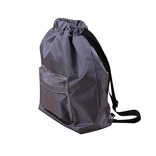 - Drawstring Bag, ZOMUSAR Water Resistant Swim Gym Sports Dance Bag Drawstring Backpack Cinch Sack Sackpack Waterproof Outer Shell Fabric (Gray)