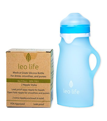 Leo Life 9oz Silicone Sippy Bottle Drinks, Smoothies & Purees- Medical Grade Silicone 4 Spouts (9oz, Blue)