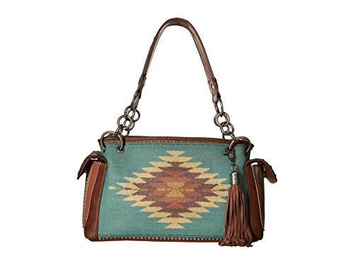 Print Satchel - Blazin Roxx Women's Zapotec Style Aztec Print Satchel Bag, Brown, OS
