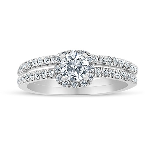 5/8ctw Diamond Halo Bridal Set Engagement Ring in 10k White Gold 10k Bridal Set Ring