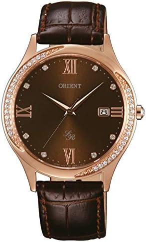 Orient elegante orologio da donna con cinturino in vera pelle strass oro rosa