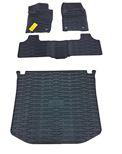 Jeep Cargo Mat - 2013-2015 Jeep Grand Cherokee Rubber Slush Floor Mats and Cargo Tray Liner Set