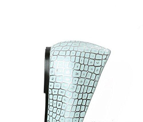 AllhqFashion Damen Ziehen auf Quadratisch Zehe Niedriger Absatz Kariert Pumps Schuhe Blau
