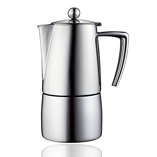 Minos Moka Pot 4-Cup Espresso Maker - Stainless Steel And Heatproof Handle - Classy and Elegant Design - Suitable for Gas, Electric And Ceramic Stovetops (Handles Stovetop Maker Espresso)