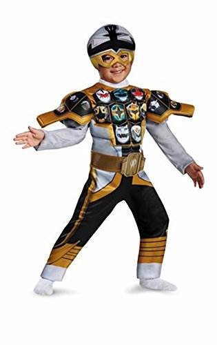 Super Megaforce Muscle Silver Ranger Costumes (Silver Ranger Power Rangers Super MegaForce Muscle Costume w/Mask Size 3T-4T)