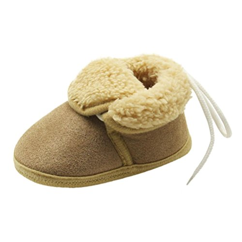 Price comparison product image Oksale Newborn Baby Girl Boys Winter Solid Soft Sole Snow Boots Prewalker Warm Shoes (0~6 Month,  Brown)