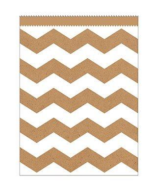 Club Pack of 120 Kraft Natural Brown and White Chevron Striped Large Decorative Paper Party Treat Bags 8.75''