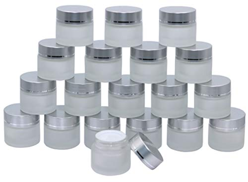 10 Gram/0.34Oz Pack of 19,Thick Frosted Glass Cosmetic Jars Portable Sample Jar Bottles Container Empty Small Glass Facial Cream Jar Pot With Silver Aluminum Lid&Inner Liners For Travel