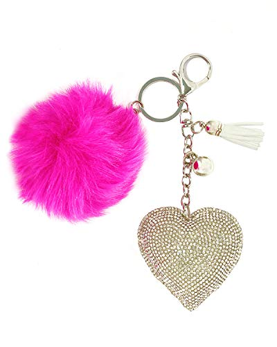 Wrapables Crystal Bling Key Chain Keyring with Pom Pom Car Purse Handbag Pendant, Silver Heart